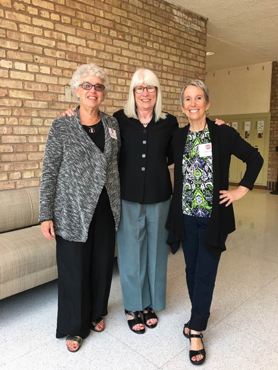 Susan Benjamin, architectural historian, Susan Saarinen, and event organizer Joan Gand. Susan Benjamin and her staff are currently writing a Historic Structures Report for Crow Island School to guide future decisions on preserving this National Historic Landmark.